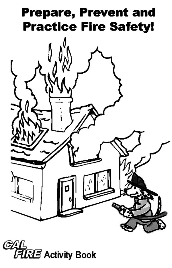 Fire Dog, : Practice Fire Safety with Fire Dog Coloring Pages