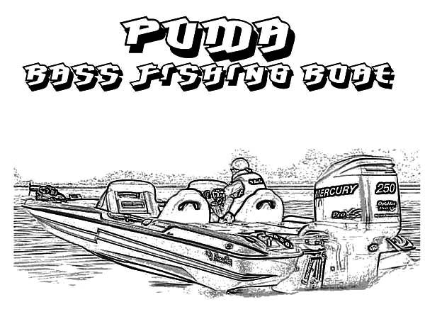 Fishing Boat, : Puma Bass Fishing Boat Coloring Pages