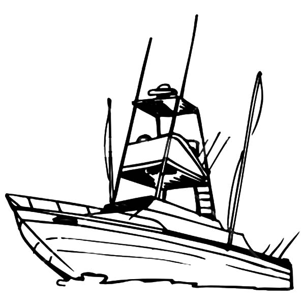 Fishing Boat, : Recreational Fishing Boat Coloring Pages