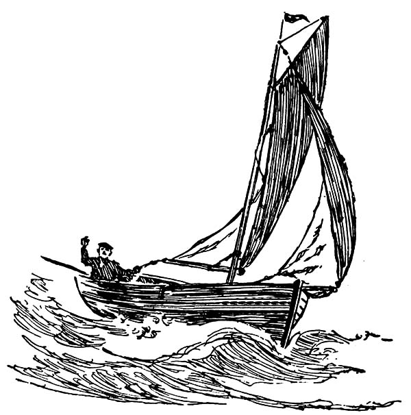 Fishing Boat, : Riding Fishing Boat Coloring Pages