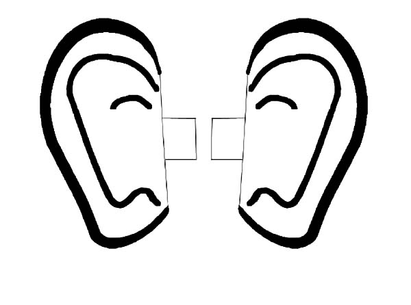 Ear, : Right and Left Ear Coloring Pages