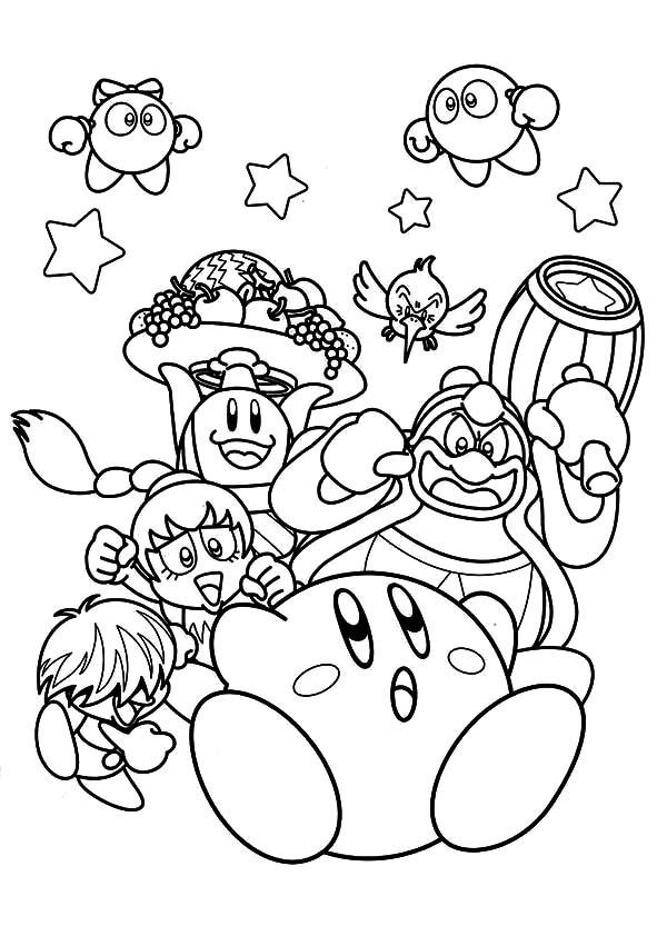 run kirby run coloring pages