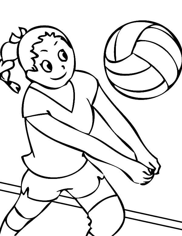 Exercise, : School Student Volleyball Exercise Coloring Pages