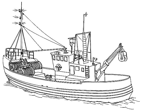 Fishing Boat, : Sea Fishing Boat Coloring Pages