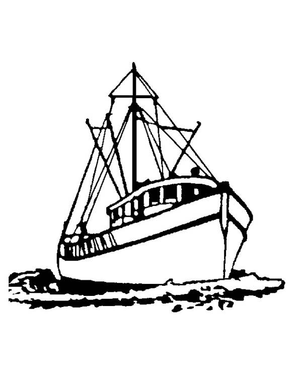 Fishing Boat, : Set Sail Fishing Boat Coloring Pages