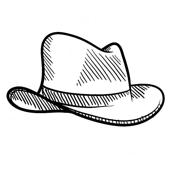 Cowboy Hat, : Sketch of Cowboy Hat Coloring Pages