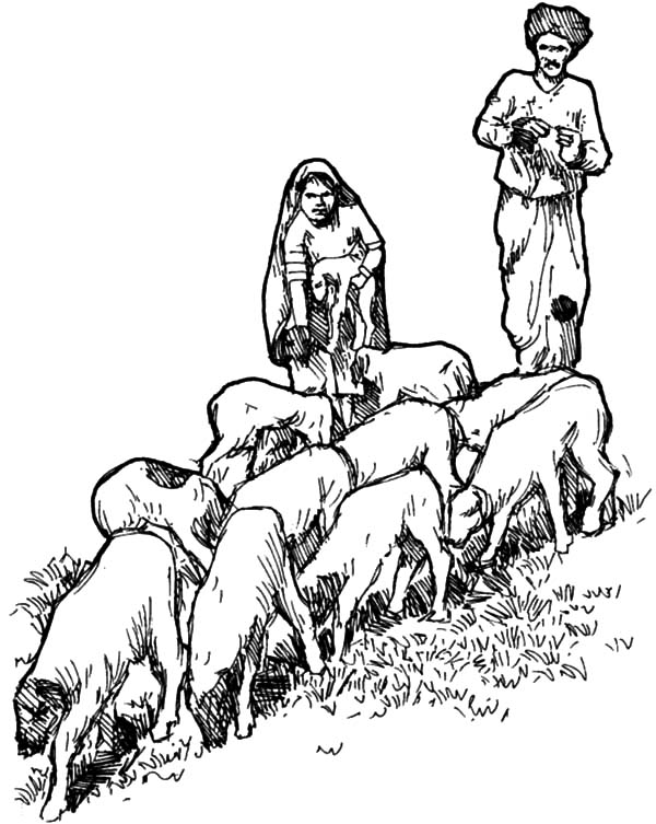 David The Shepherd Boy, : Sketch of David the Shepherd Boy Coloring Pages