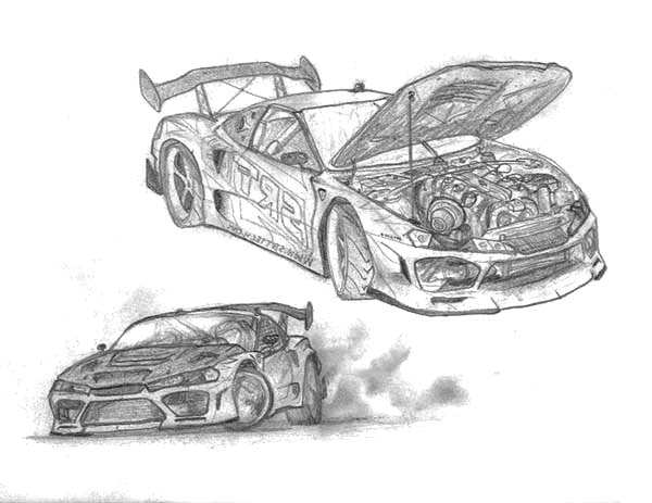 Drifting Cars, : Sketch of Drifting Cars Coloring Pages