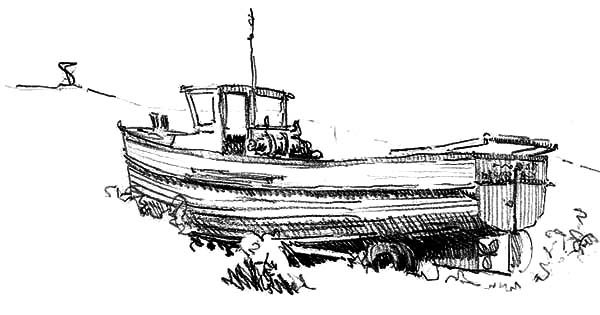 Fishing Boat, : Sketching Fishing Boat Coloring Pages