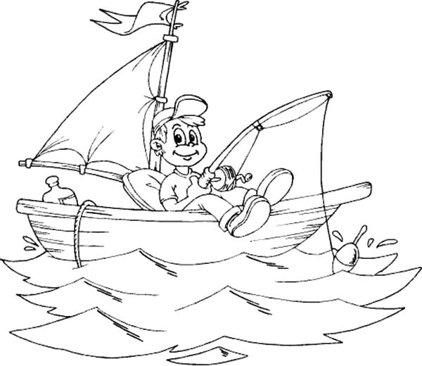 Fishing Boat, : Smiling Boy Fishing from Boat Coloring Pages