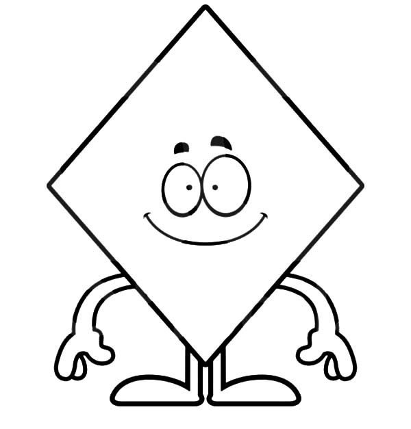Diamond Shape, : Smiling Diamond Shape Coloring Pages