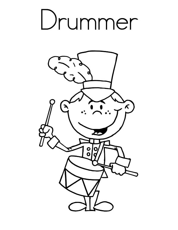 smiling drummer boy coloring pages
