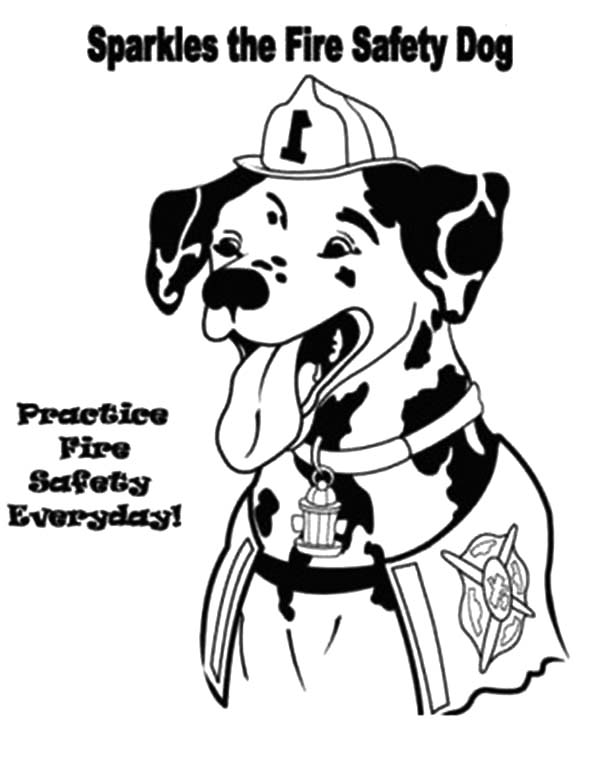 Fire Dog, : Sparkles the Fire Safety Dog Coloring Pages