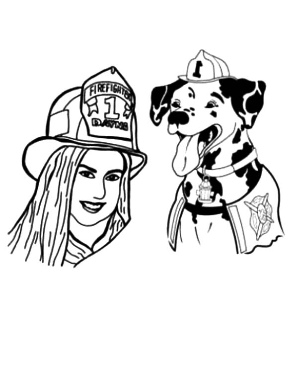 Fire Dog, : Sparkles the Fire Safety Dog and Firefighter Dayna Coloring Pages
