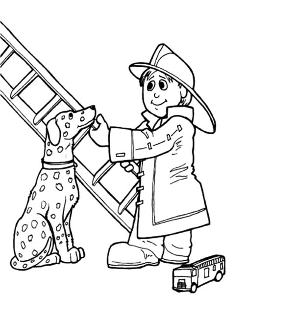 Fire Dog, : Sparky the Fire Dog Do Fire Drill Coloring Pages