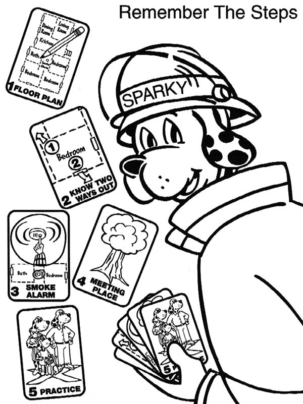 Fire Dog, : Sparky the Fire Safety Dog Remember the Steps Coloring Pages