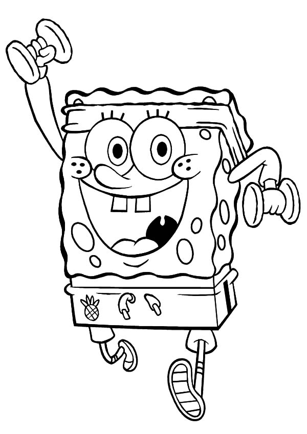 Exercise, : Spongebob Exercise with Dumbbells Coloring Pages