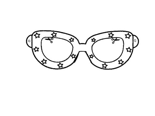 Eyeglasses, : Star Decorated Eyeglasses Coloring Pages