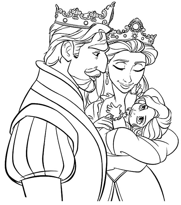 King, : Tangled King and Queen Watch Their Princess Coloring Pages