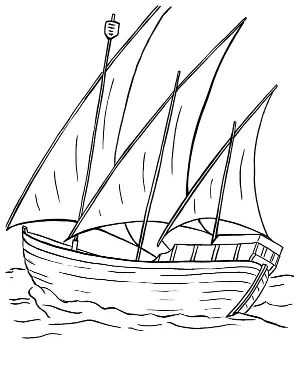 Fishing Boat, : Three Sail Fishing Boat Coloring Pages