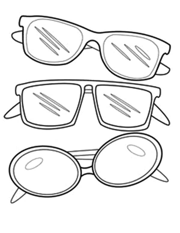 Eyeglasses, : Three Type of Eyeglasses Coloring Pages