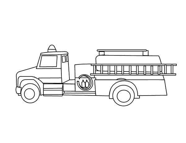 Fire Engine, : Transporting Firefighter with Fire Engine Coloring Pages