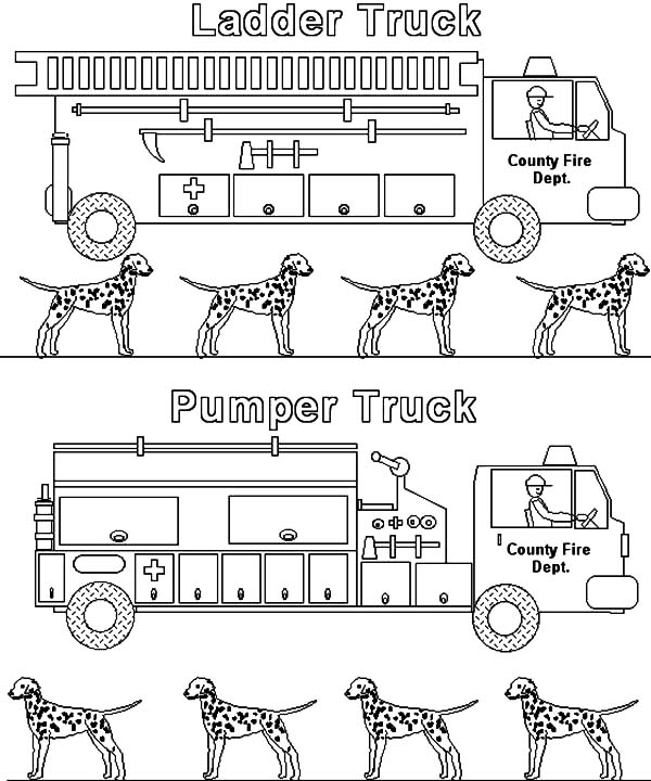 Fire Engine, : Two Type of Fire Engine Coloring Pages