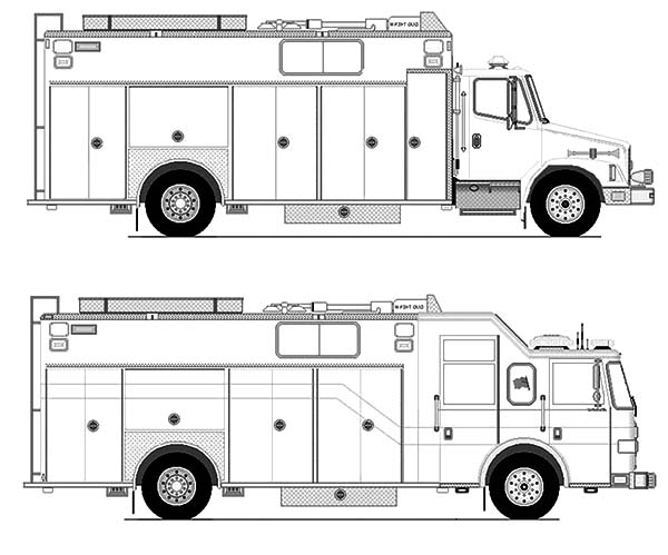 Fire Engine, : Type of Fire Engine Coloring Pages