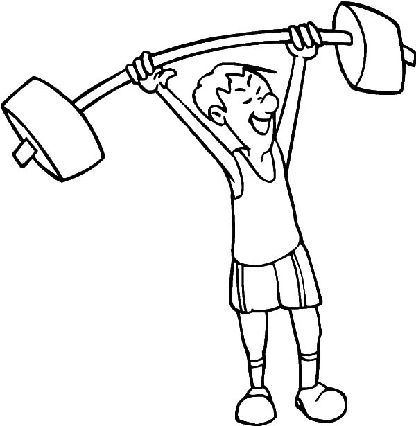 Exercise, : Weighlifting Exercise Coloring Pages